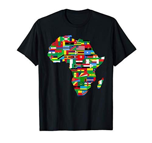 Camisa de mapa de bandera de países de África africano Camiseta