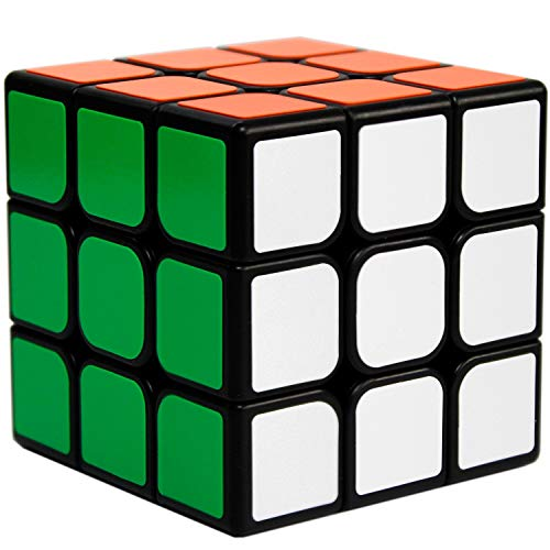 OJIN 3x3 Puzzle Black Smooth Brain Teaser Cube Twist IQ Toys PVC Sticker 57mm with One Cube Tripod