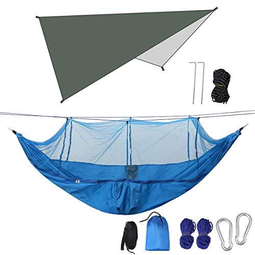 HamacasHamaca de camping para doble persona con mosquitero + toldo al aire libre para senderismo y viajes, juego de hamaca de 300 kg de capacidad para acampar (tamaño: 300 x 260 cm; color: B)
