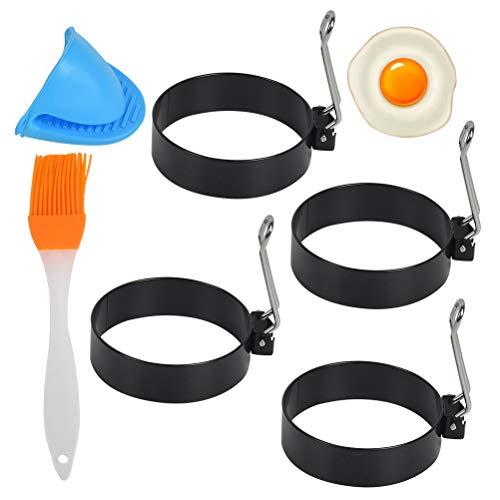 Idealeben 4pcs Anelli per Uova, Stampo per Pancake, Stampi per Uova Antiaderenti in Acciaio Inossidabile, Frittata di Uova, Set per Modellare Le Uova con Spazzola per Arrostire e Clip a Mano