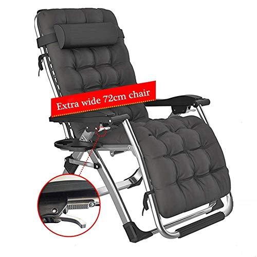 Übergroßer Zero Gravity Locking Patio Liegestuhl im Garten und im Freien Home Lounge Chair Klappbarer Liegestuhl für Strandliege 200 kg (Farbe: Mit schwarzem Kissen)