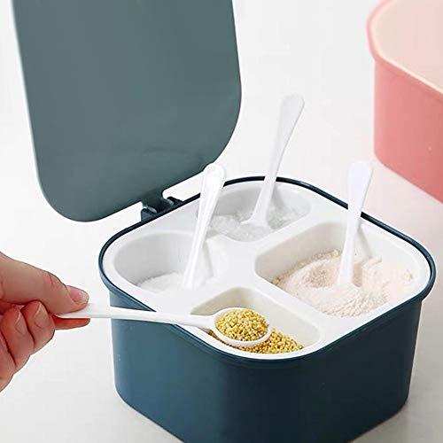 Küche Würze Box Vier in einem Aufbewahrungsbehälter Gewürzdosen mit Löffeln Gewürzbehälter für robustes und langlebiges Küchenkochen