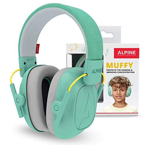 Alpine Muffy Lärmschutz Kopfhörer Kinder - Ohrenschützer für Kinder bis zu 16 Jahren – Geräuschdämmender Gehörschutz für Kinder - Komfortabler Gehörschutz Kind mit verstellbarem Kopfband - Mint