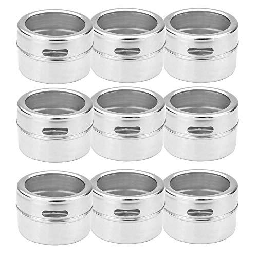 Especieros magnéticos - Juego de 12   Etiquetas incluidas   Tarros para especias de acero inoxidable   Condimentos   M&W