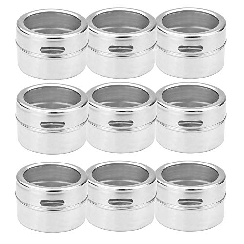 Magnetic Spice Tins - Set of 12 | Labels Included | Stainless Steel Spice Jars | Herb Pots | Seasoning Shakers | Herb Storage Containers | M&W