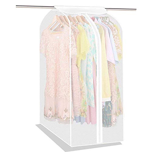 Large PEVA Translucent Clothing Dustproof Cover Wardrobe Hanging Storage Bag Garment Rack Cover Dustproof Moisture Proof Protector with Magic Tape and Zipper HZC71