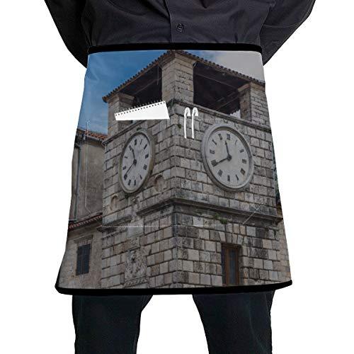 JINCAII Farbige Kellnerin Schürzen alte Uhr in der Altstadt Unisex Küchenschürzen mit großer Tasche Unisex für die Küche Handwerk Grill Zeichnung