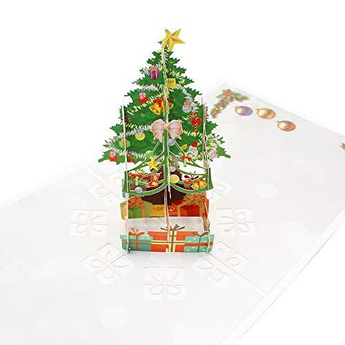 KiKiHong 3D Christmas Tree Greeting Cards Pop Up Xmas Tree Card Christmas Cards with Envelopes for Christmas Gifts (15x15cm)