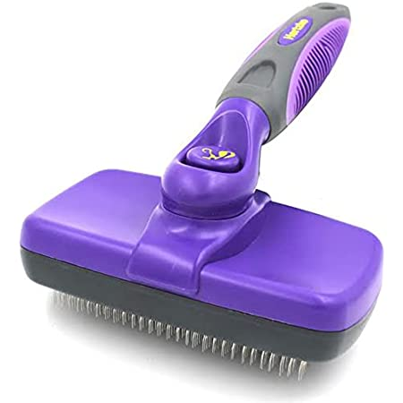 HERTZKO Self-Cleaning Slicker Brush for Dogs and Cats Pet Grooming Dematting Brush Easily Removes Mats, Tangles, and Loose Fur from The Pet's Coat