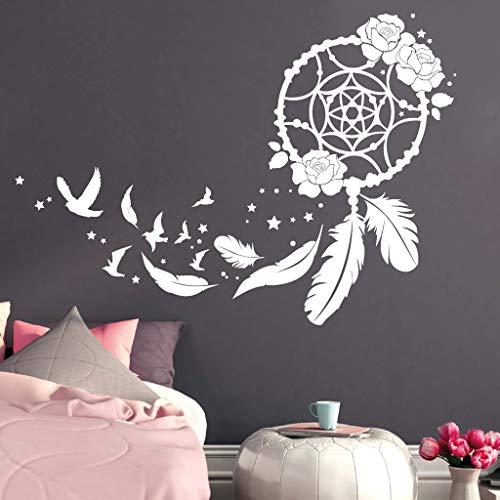 Wandtattoo Traumfänger mit Rosen, Vögeln und Federn/transparent / 55 cm hoch x 77 cm breit