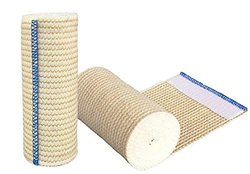 GT USA Organic Cotton Elastic Bandage Wrap (4' Wide, 2 Pack) | Hook & Loop Fasteners at Both Ends | Latex Free Hypoallergenic Compression Roll for Sprains & Injuries
