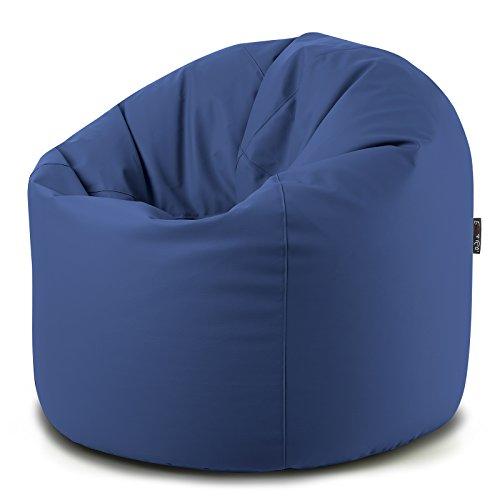 Puff Sacco Poltrona Ecopelle Blu Mis.95XH.130 CM Interno in POLISTIROLO Morbido E SFODERABILE con Lampo Disponibile in 10 Colori