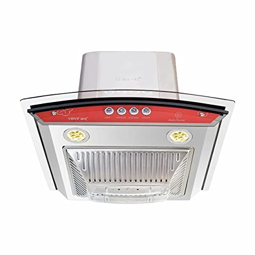 Ventair Autoclean Kitchen Chimney 60 cm 1150 m3/hr Made in India (Auto Excel, Backlit Push Button, Colour- Red, Conical Baffle Filter)
