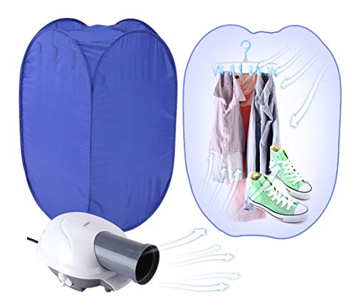Greensen Portable Clothes Dryer, Mini Folding Ventless Electric Air Clothes Dryer Bag Fast Drying Machine with Heater 110V (Hangers & Brackets Included)- Blue