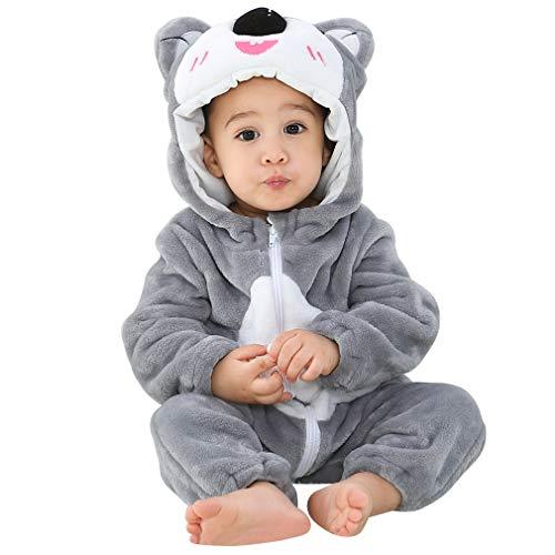 MICHLEY Bebé Invierno Romper Monos Pijamas de Franela de Animales con Capucha para niños pequeños 6-12 Meses