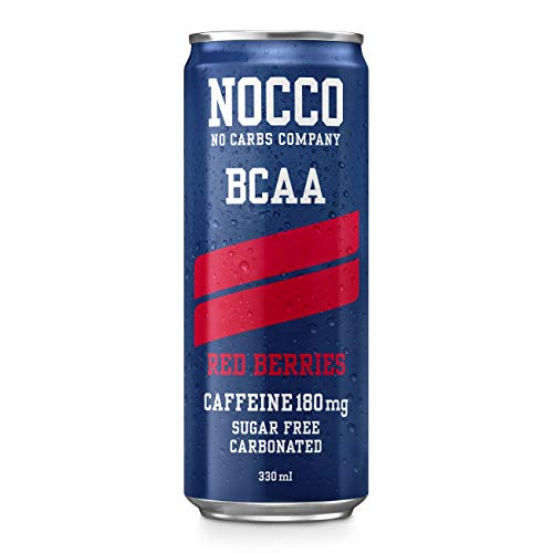 NOCCO BCAA | Zero Sugar Functional Energy Drink | No Carbs Company | Vitamin Enhanced with 180mg Caffeine | Flavoured Functional Drinks for Health, Fitness & Everyday (Red Berries 12-Pack)