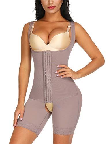 FeelinGirl Damen Miederbody Shaperwear Miederpants Corsage Korsett Schlank Bodysuit Miederhose Top, Nude, XXL