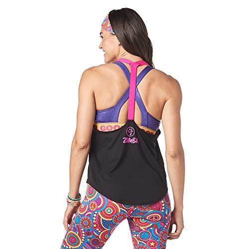 Zumba Dance Fitness Open Back Workout Tank Tops for Women, Bold Black 0, S