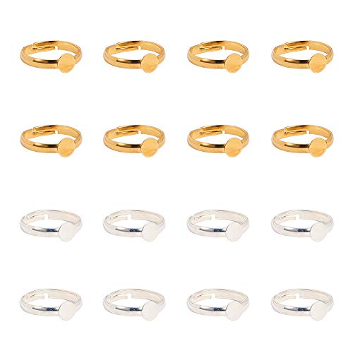 PandaHall Elite Ring Blanks, 40pcs 17mm Adjustable Ring Base Blank with 6mm Flat Base Gold Silver Blank Finger Rings Cabochon Base Bezel for Ring Blanks Making Kit