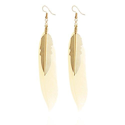 Pendientes Colgantes de Plumas con pequeños Pendientes de Plumas de Color Dorado para Mujeres 9 * 1.5 cm (Amarillo)