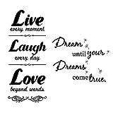 Adesivi da Parete Murali Adesivo Muro Frasi Scritta Decorazione fai da te per Casa Camera da Letto Soggiorno (Love/Laugh/Live+Dream)