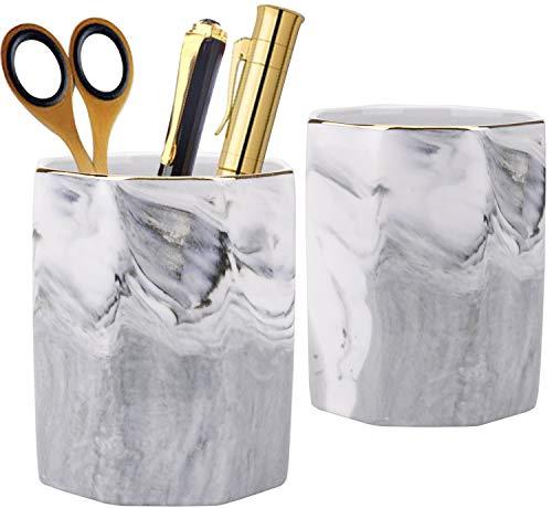 Nicunom 2 Pack Marble Pattern Pen Holder for Desk, Ceramic Desk Pencil Cup Desk Organizer Makeup Brush Holder for Girls Women, Desktop Accessories Holder Ideal Gift for Home Office, Gray