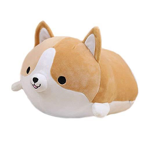 Alecony 35CM Sanft Kinder Schlafkomfort Kissen, niedliche Corgi Kuscheltiere Puppe Anime plüsch Hund stofftier Spielzeug für Jungen Mädchen Weihnachtsgeburtstag Geschenke, Party,Weihnachten (Brown)