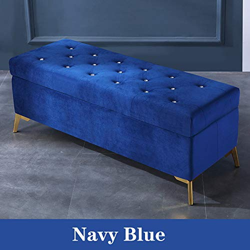 Storage Chest Ottoman Large Footstool Padded Seat For Seating Resting,Button Tufted Footrest Stool Bench,Rectangle Velvet Storage Ottoman Navy Blue 90x42x45cm(35x17x18in)