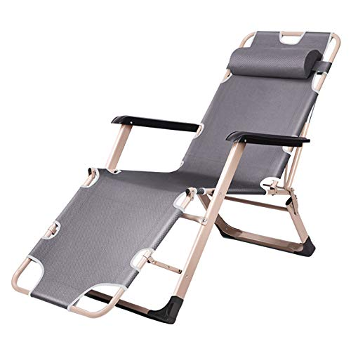 HAIYU- Reclining Chair, Folding Lounge Chair Adjustable Sunbed with Removable Pillow, 180 Degree Flat, Widened Lounger Chair for Garden Beach Patio Camping(Color:Gray)