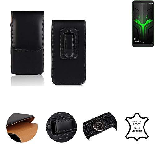 K-S-Trade® Holster Gürtel Tasche Für Xiaomi Blackshark Helo Handy Hülle Leder Schwarz, 1x