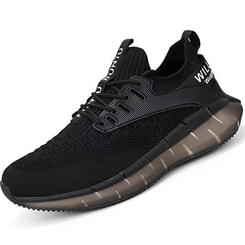 PAQOZKC Buty do biegania na ulicy, męskie, damskie, buty do biegania, fitness, oddychające, lekkie buty do chodzenia po górach, do fitnessu, czarny - czarny - 45 EU