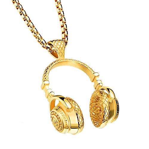 OIDEA Herren Edelstahl Anhänger mit Halskette, Biker Punk Rock DJ Musik Kopfhörer Headset Anhänger mit 61cm Kette, Gold Silber
