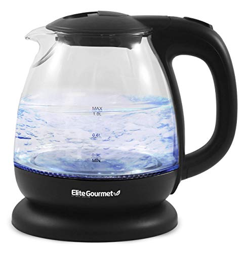 Elite Gourmet EKT1001 Electric BPA-Free Glass Kettle, Cordless 360° Base, Stylish Blue LED Interior, Handy Auto Shut-Off Function – Quickly Boil Water For Tea & More, 1L, Black (Renewed)