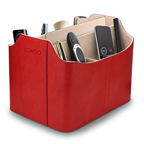 Londo Leder Fernbedienung Organizer und Halter mit Tablet Fach (Rot)