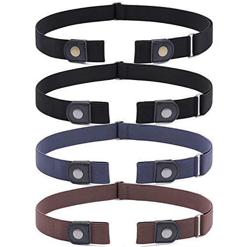 SUOSDEY 4 Stück Gürtel Ohne Schnalle,Elastischer Gürtel Damen für Jeans Hosen Justierbar Stretchgürtel Gürtel für Damen Herren