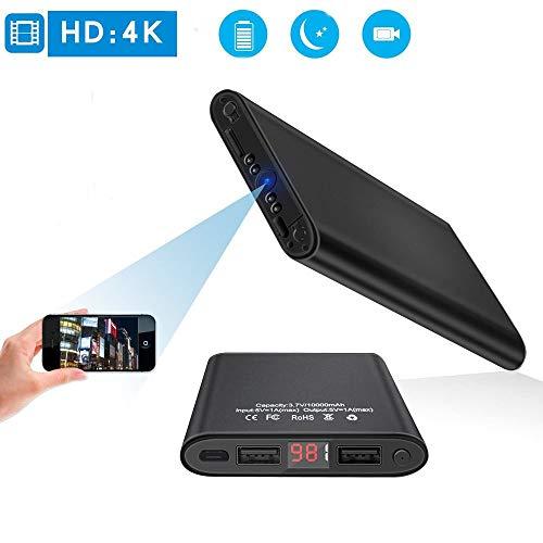 Mini DV HD 4K spy Camera 10000 mAh WiFi Verborgen Power Bank Camera met Bewegingsdetectie, Nachtzicht, Nanny Camera Huisdier Monitoring/Thuisbeveiliging, Echte Mobiele oplader, Draagbare Compacte Camera Voor Thuis