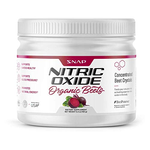 Beet Root Powder Organic Nitric Oxide Booster by Snap Supplements - Blood Flow & Circulation Beets Superfood Support Muscle & Heart Health - BCAA, L Arginine, L Citrulline (5.3 oz)