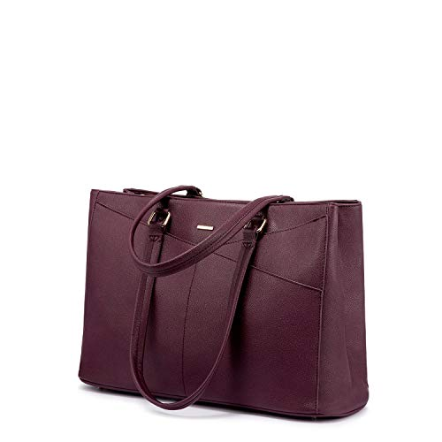 Laptop Tote Bag for Women 15.6 Inch Waterproof Leather Computer Bags Women Business Office Work Bag Briefcase Purle