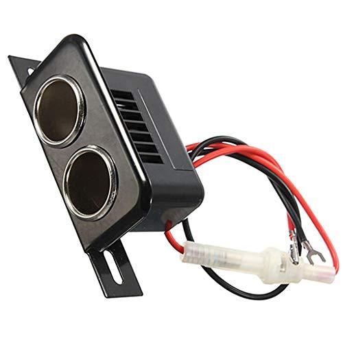 P Prettyia Adaptador de Cargador de Coche, Divisor de Encendedor de 2 Enchufes Y Puerto USB Dual con 12 / 24V