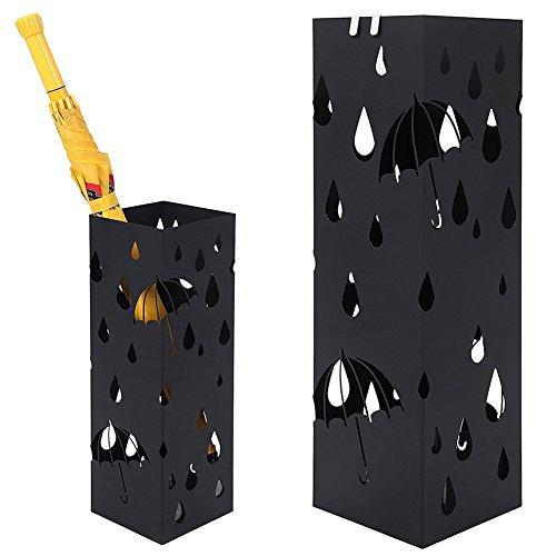 Bakaji Schirmständer Regenschirmständer Metall Schwarz Mit Wasserauffangschale Haken Für Regenschirm Gehstock Geschenkpapierständer Quadratische Form Für Haus Büro Rezeptionsmöbel Salon