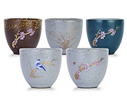 VanEnjoy Sef of 5 Hand-Drawn Traditional Chinese Ceramic Teacup Tea Cups, Floral and Bird Pattern,Bulk Teacup in Gift Box