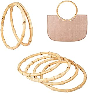 PH PandaHall 4 Pack Round Bamboo Purse Handbag Purse Handles Replacement for Handcrafted Handbag DIY Bags Accessories(Inne...