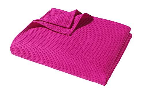 WOHNWOHL Baumwolldecke 150x200 cm | Waffelpique leichte Kuscheldecke aus 100% Baumwolle | Luftige Sofa-Decke vielseitig einsetzbar |...