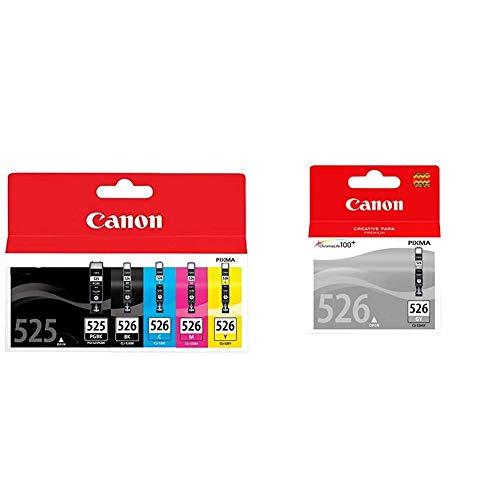 Canon PGI-525+CLI-526 5 Cartuchos Multipack de Tinta Original PGBK/BK/C/M/A para Impresora de Inyeccion de Tinta Pixma + Cartucho de Tinta Original Gris para Impresora de Inyeccion de Tinta Pixma
