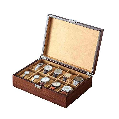 Mostrar pantalla de almacenamiento, 10 ranuras Caja de reloj de madera Cierre de metal Reloj extraíble Almohada Personalizar regalo para hombres Mujeres (Color: Marrón, Tamaño: 30x22x8.5cm) lalay