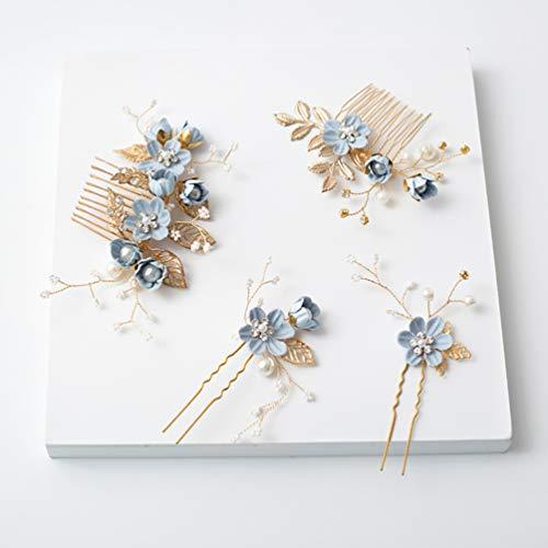 NUOBESTY 4 pezzi eleganti pettine per capelli fatti a mano da sposa di moda set copricapo da sposa floreale accessori per donna accessori per strass abito da sposa