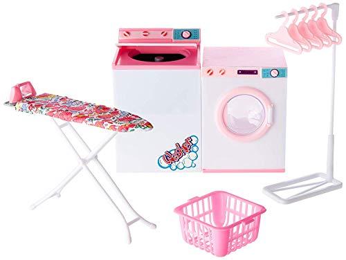Ivory Gloria Dollhouse Furniture - Laundry Room with Iron & Ironing Table Playset