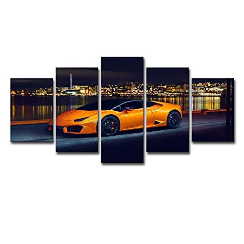 Lienzo de arte en la pared de 5 piezas Lamborghini naranja coche deportivo pintura pared...