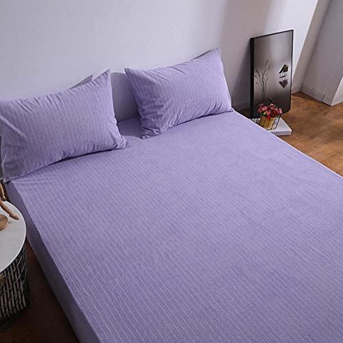 DSman Funda colchón Microfibra, elástica y Ajustable, Cubierta de sábana Impermeable a Rayas-Purple_54x75x14inch