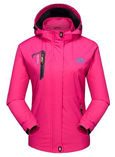 MAGCOMSEN Damen Softshelljacke Leicht Jacke Outdoorjacke Frühling Angeln Jacke Damen Funktionsjacke Atmungsaktive Jacke Trekkingjacke mit Kapuze Rosa XL